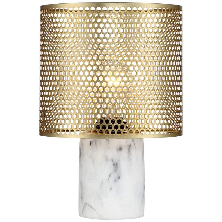 """Elijah Brass and White 11 1/2"""" High Accent Table Lamp"""