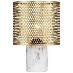 "Elijah Brass and White 11 1/2"" High Accent Table Lamp"