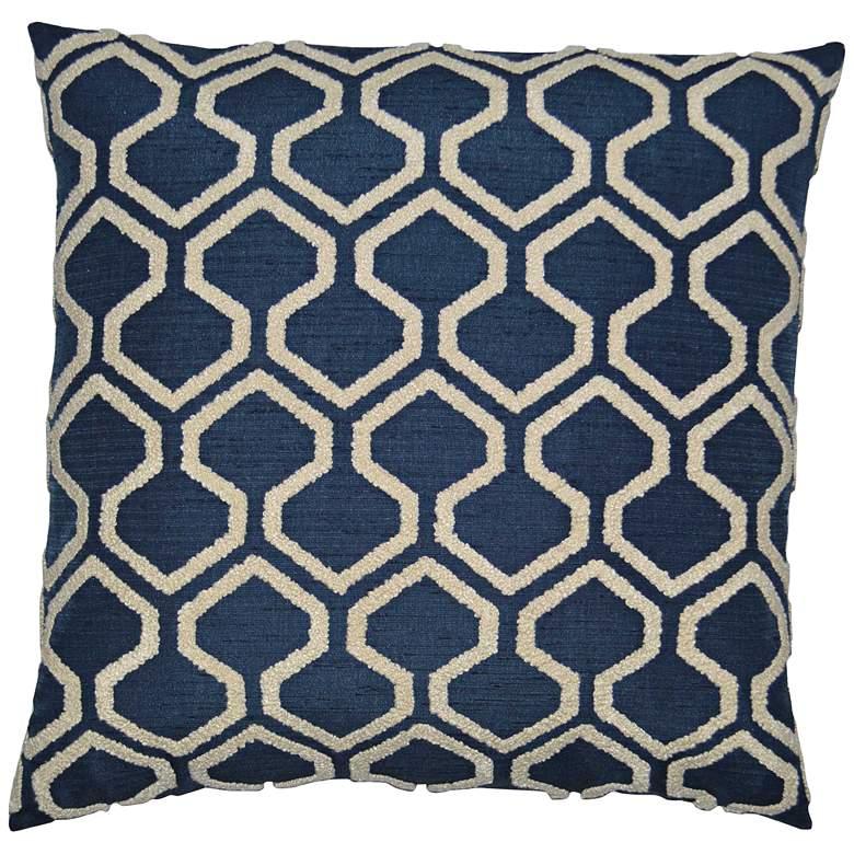 "Raw Edges Indigo 22"" Square Decorative Throw Pillow"