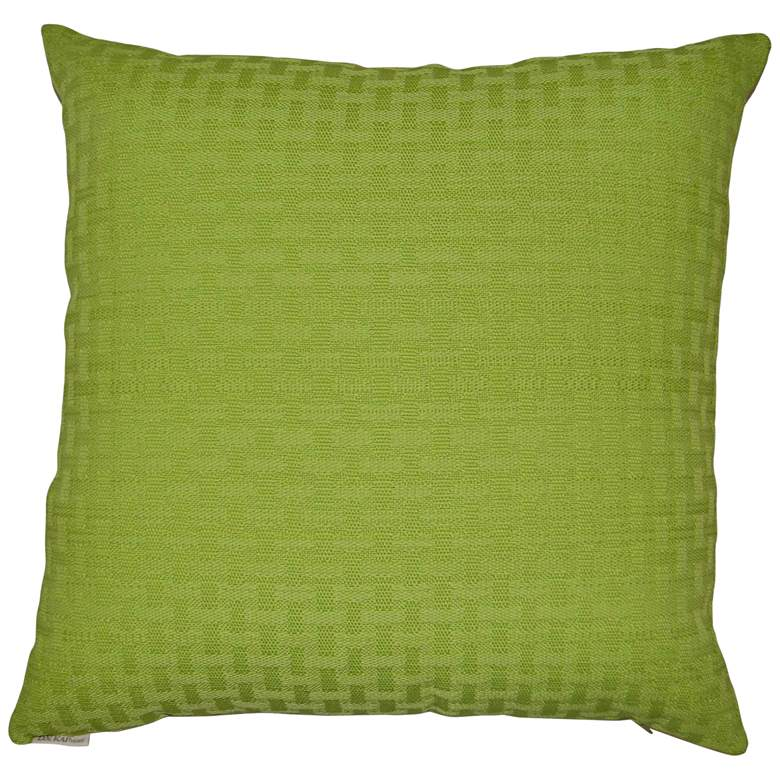 "Green Carmel Weave 22"" Square Indoor-Outdoor Throw Pillow"