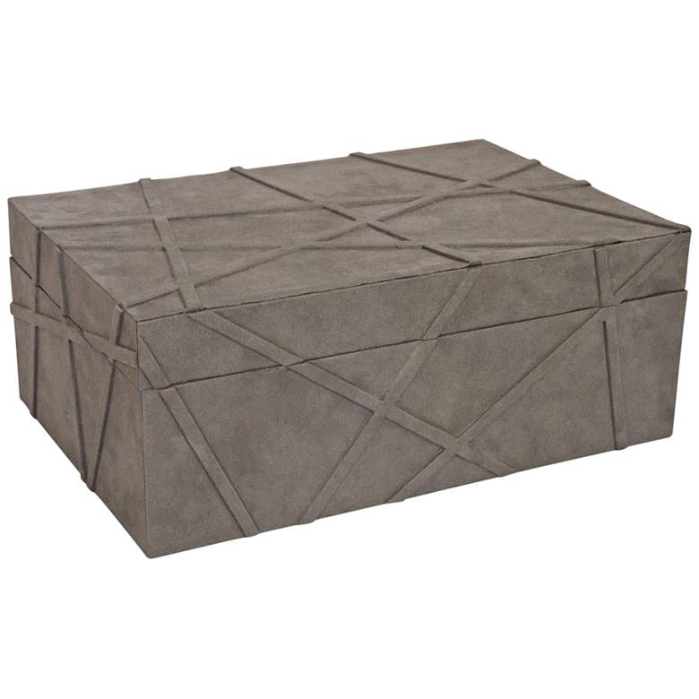 "Las Cruces 14"" Wide Gray Suede Decorative Box"