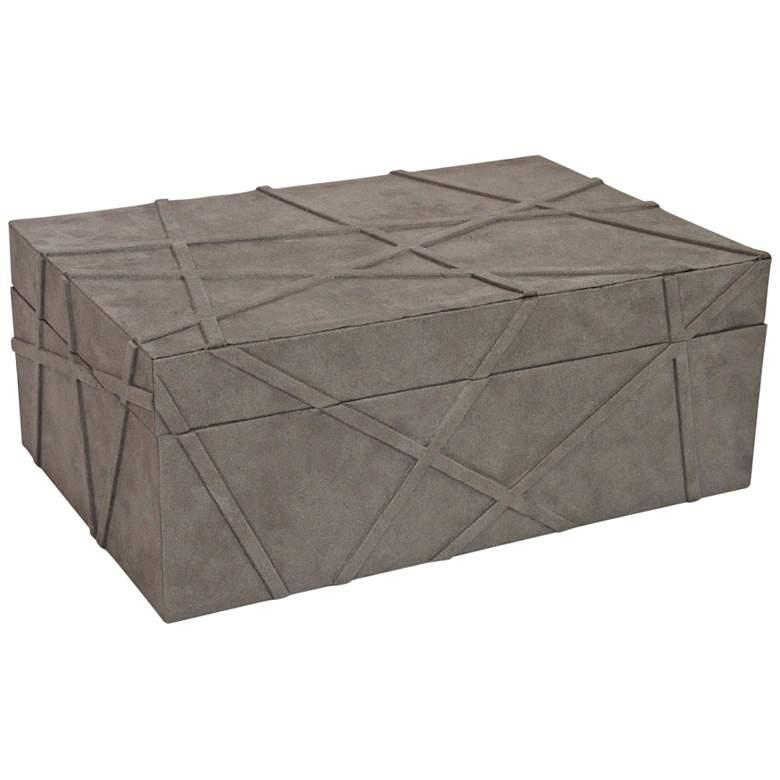 """Las Cruces 14"""" Wide Gray Suede Decorative Box"""