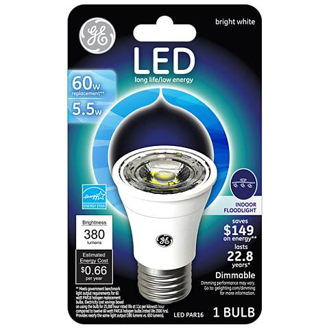 60 Watt Equivalent GE 5.5 Watt LED Dimmable Standard PAR16