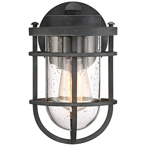 "Quoizel Boardwalk 9 3/4""H Mottled Black Outdoor Wall Light"
