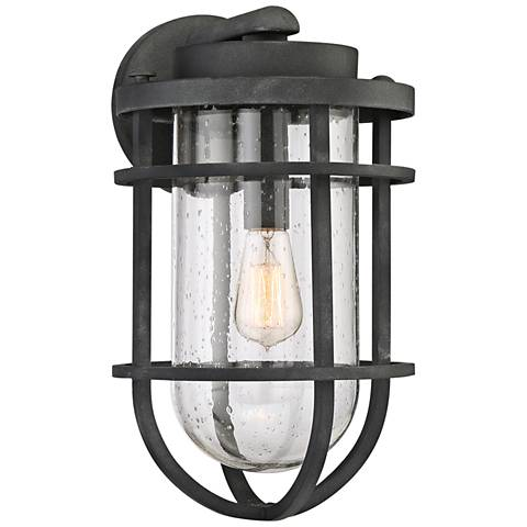 "Quoizel Boardwalk 17 1/4""H Mottled Black Outdoor Wall Light"