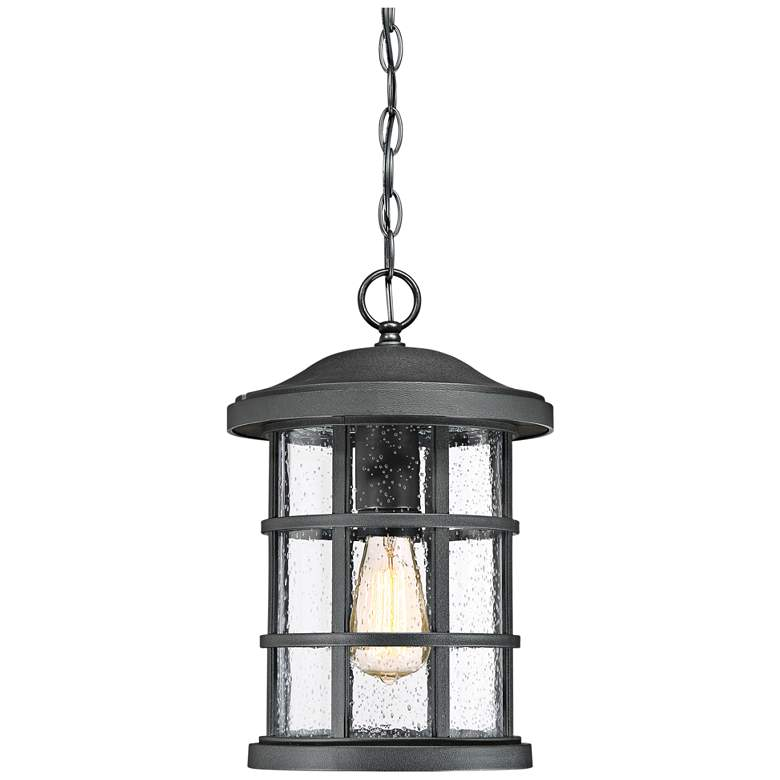 """Quoizel Crusade 15 1/2""""W Earth Black Outdoor Hanging Light"""