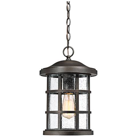"Quoizel Crusade 15 1/2"" High Bronze Outdoor Hanging Light"