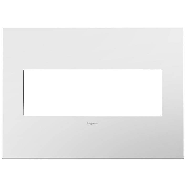 adorne Gloss White-on-White w/ White Back 3-Gang Wall Plate