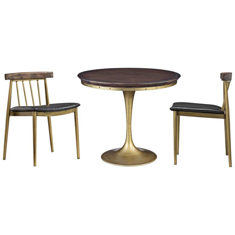 Alfie Pine Top and Brushed Brass 3-Piece Dining Set