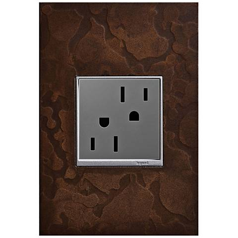 adorne Hubbardton Forge Bronze 1-Gang Wall Plate w/ Outlet