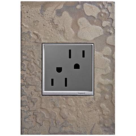adorne Burnished Steel 1-Gang Wall Plate w/ 15A Outlet