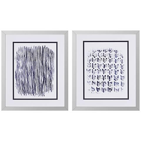 """Indigo Batik II 2-Piece 30"""" High Framed Wall Art Set"""