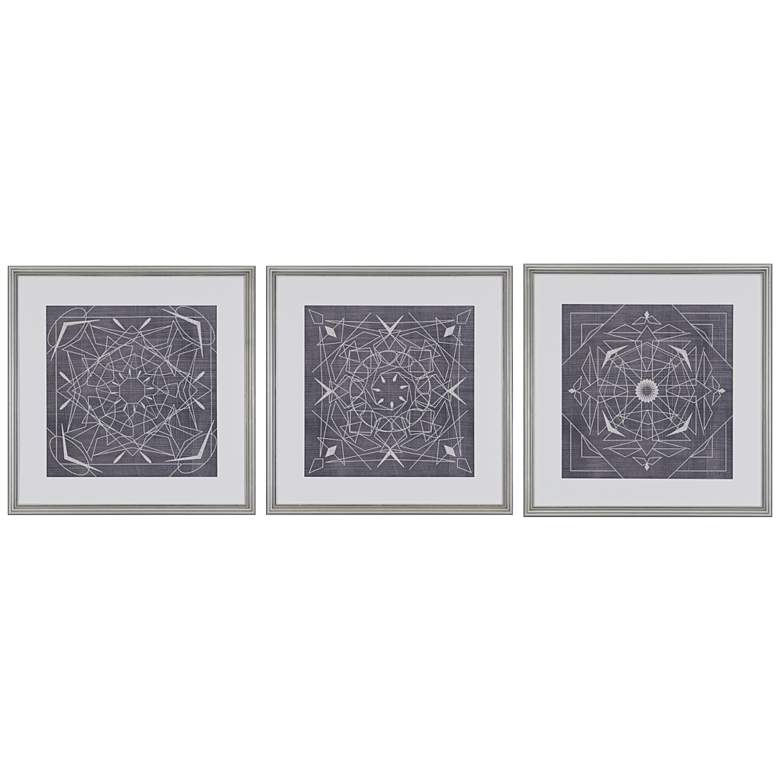 "Geometric Tile III 3-Piece 22"" Square Framed Wall Art Set"