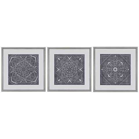 "Geometric Tile III 3-Piece 22"" Square Framed Wall Art Set"