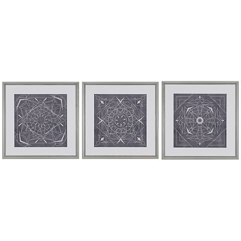 geometric tile iii 3 piece 22 square framed wall art set 19x94 lamps plus. Black Bedroom Furniture Sets. Home Design Ideas