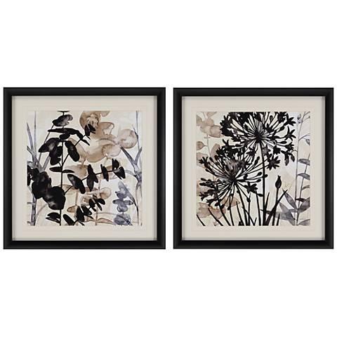 """Natural Botanical I 2-Piece 26"""" Square Framed Wall Art Set"""