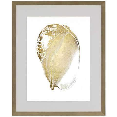 """Gold Foil Shell IV 41"""" High Framed Wall Art"""