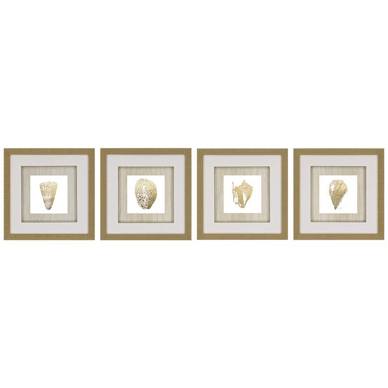 "Gold Foil Shell 4-Piece 16"" Square Framed Wall Art Set"