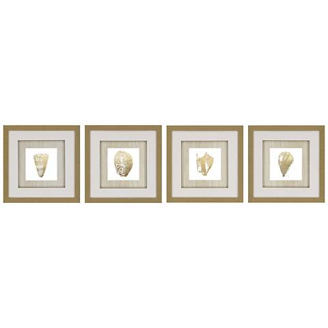 "Gold Foil Shell 4-Piece 16"" Square Framed Wall Art Set"