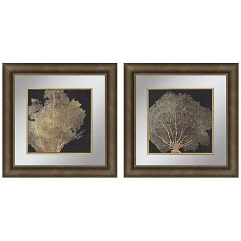 "Gold Coral I 2-Piece 23"" Square Framed Wall Art Set"