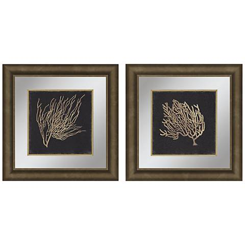 "Gold Coral II 2-Piece 23"" Square Framed Wall Art Set"