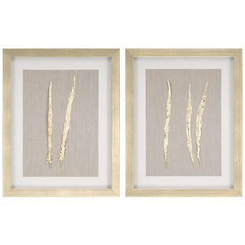 """Golden Feather I 2-Piece 28"""" High Framed Wall Art Set"""