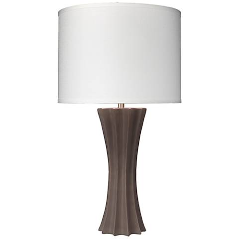 Jamie Young Sand Dollar Matte Taupe Ribbed Ceramic Table Lamp