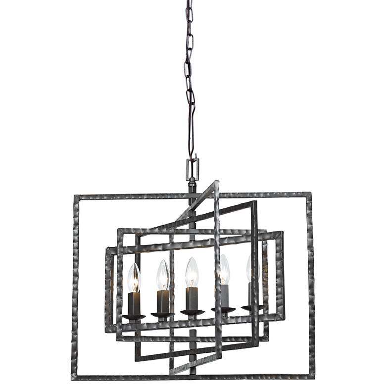 "Crystorama Capri 24"" Wide Gray Steel 5-Light Pendant Light"