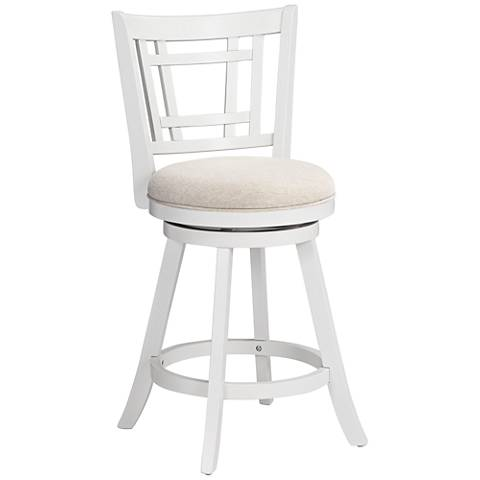 Hillsdale Fairfox 24 1 2 Quot White Ecru Swivel Counter Stool