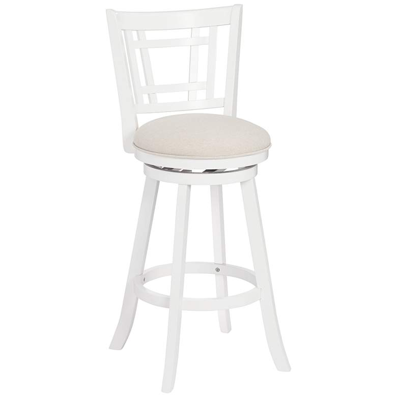 Hillsdale Fairfox 30 1 2 Quot White Ecru Swivel Bar Stool