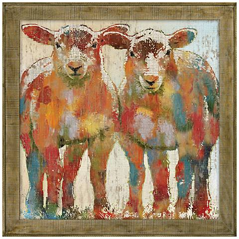 "Sheepish 29"" Square Framed Canvas Wall Art"