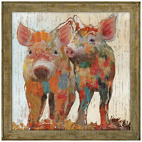"""Piggy and Wiggly 29"""" Square Framed Canvas Wall Art"""