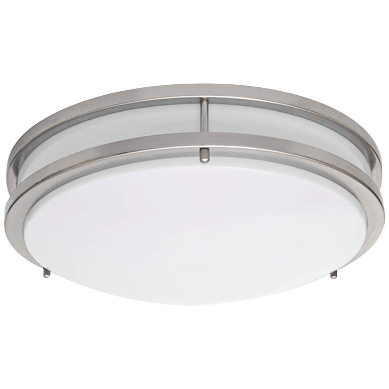 "Zare Brushed Nickel 14"" Wide Flushmount LED Ceiling Light"