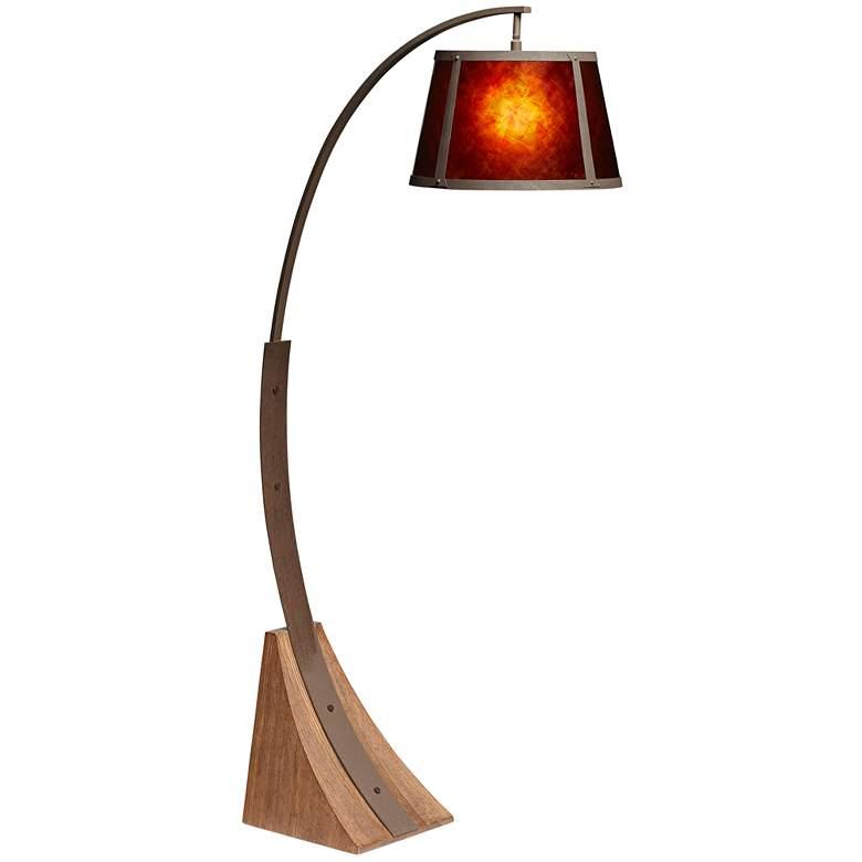 Oak River Dark Rust and Amber Mica Arc Floor Lamp