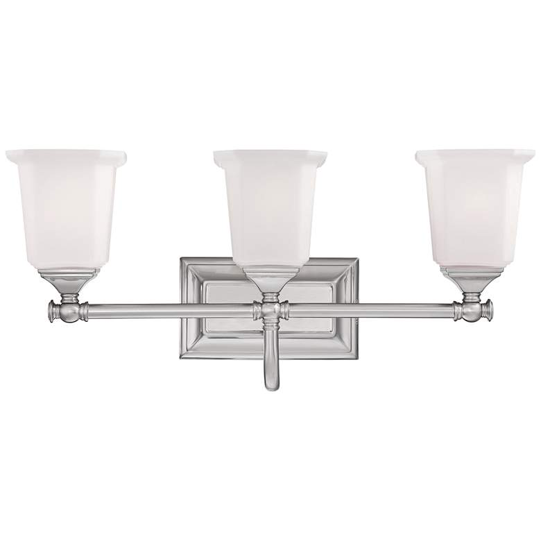 """Nicholas Collection Brushed Nickel 22"""" Wide Bathroom Light"""