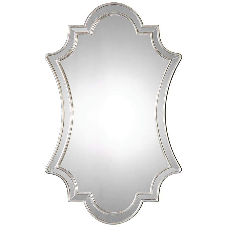 "Elara Antiqued Silver 27"" x 43"" Quatrefoil Wall Mirror"