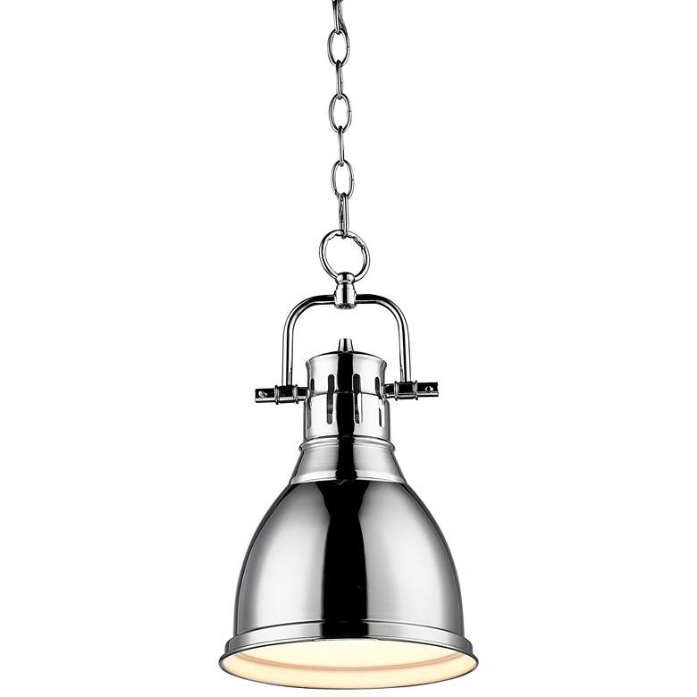 """Duncan 9"""" Wide Chrome Mini Pendant with Chain"""
