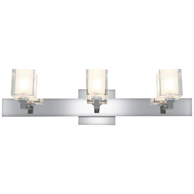 "Glas_e 25"" Wide Chrome Frosted Glass Square Bath Light"