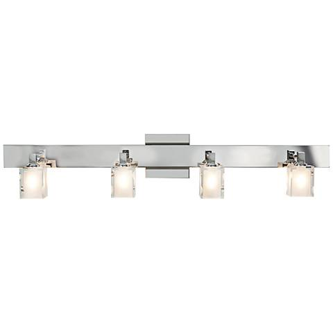 "Glas_e 34"" Wide Chrome Frosted Glass Square Bath Light"
