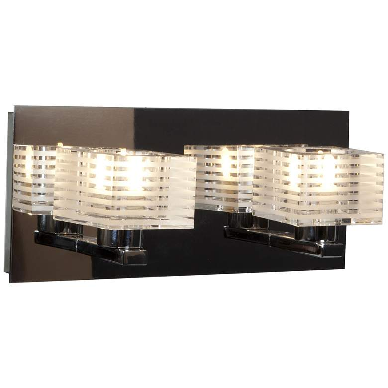 """Sophie 11"""" Wide Chrome Frosted Crystal Glass Bath Light"""