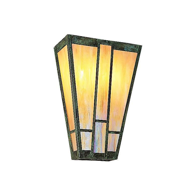 """Ashville 17""""H Iridescent Gold Glass Outdoor Wall Light"""