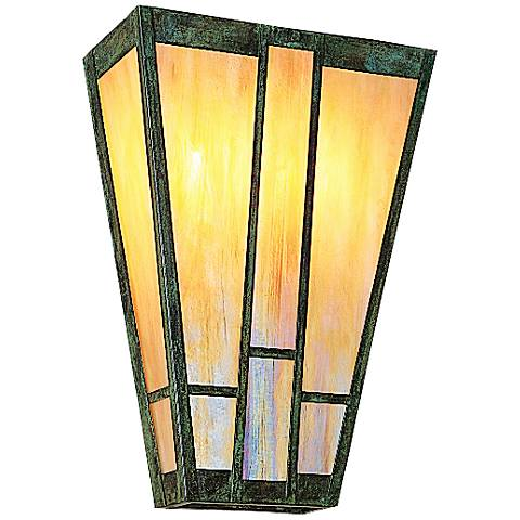 "Ashville 17""H Iridescent Gold Glass Outdoor Wall Light"