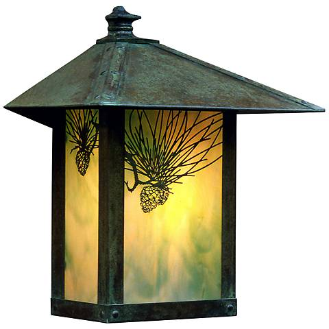 "Evergreen 13""H Pine Filigree Glass Outdoor Wall Light"