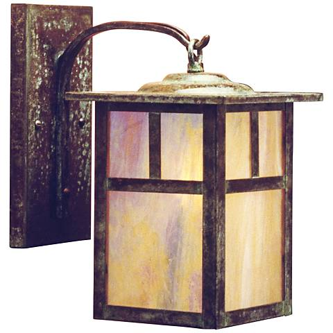 "Mission 11 3/4""H Gold Glass Lantern Outdoor Wall Light"