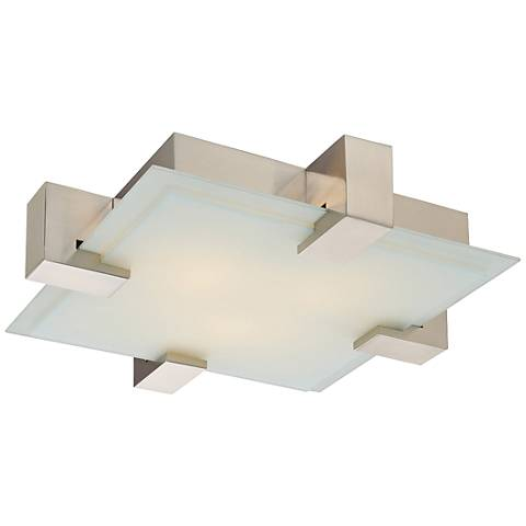 "Sonneman Dakota 19"" Wide Satin Nickel Square Ceiling Light"