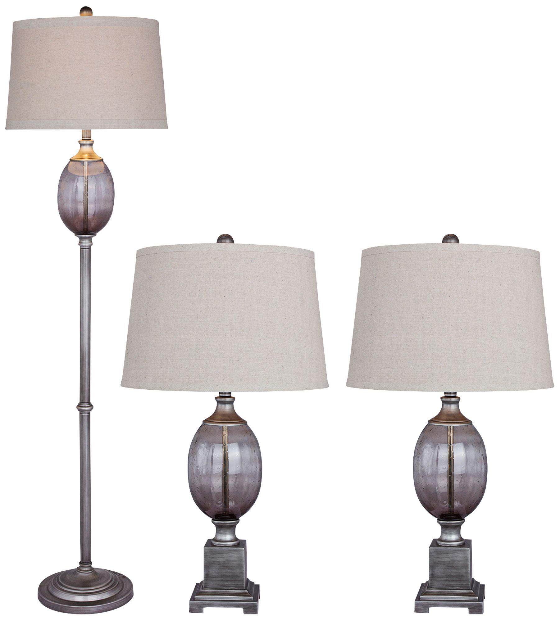 Harmon Smoke Gray Glass 3 Piece Floor And Table Lamp Set