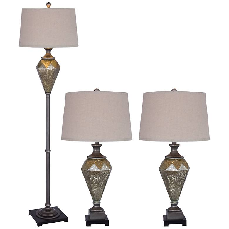 Perla Mercury Glass Black 3-Piece Floor and Table Lamp Set