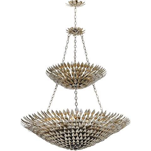 "Crystorama Broche 47 1/4""W Antique Silver Tierd Chandelier"