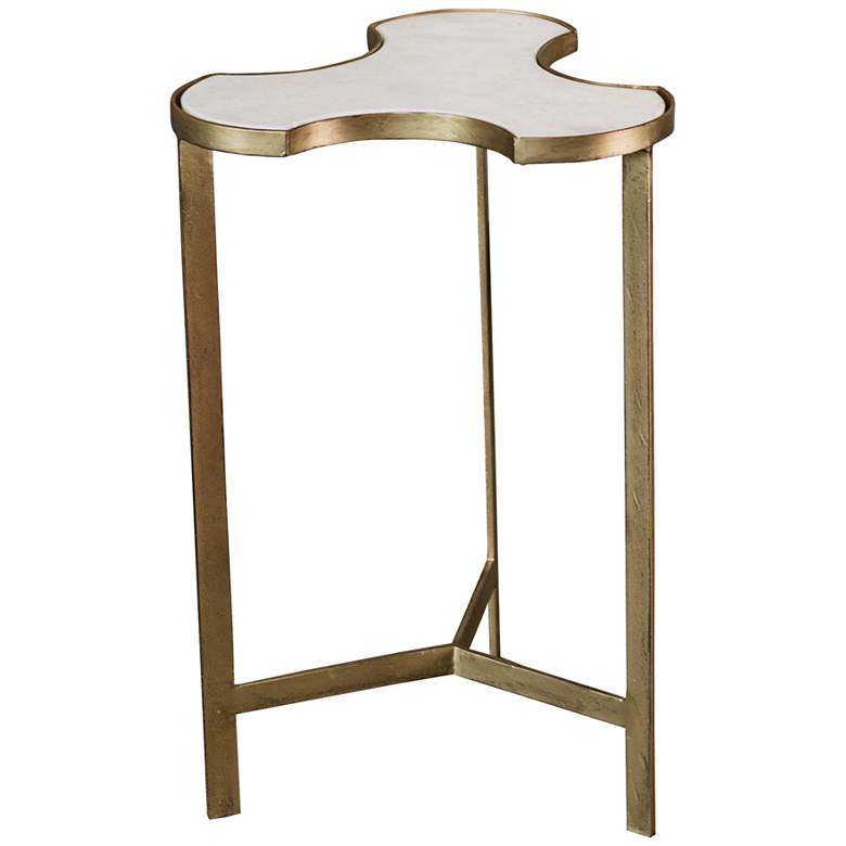 "Link 14"" Wide Gold and Marble Modern Accent Table"