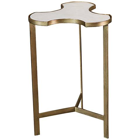 Global Views Link Bunching Gold Marble Top Accent Table